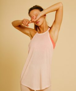 flowing tank top woman yoga agate pink