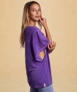 wide sleeves tee shirt yoga butterfly orchid purple