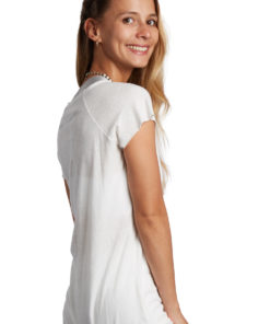 linen woman tee shirt yoga mahasaya white