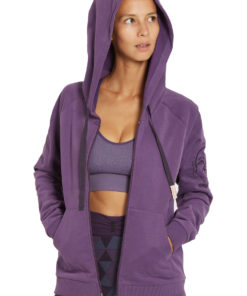 organic cotton sweat zip yoga surfer violet purple