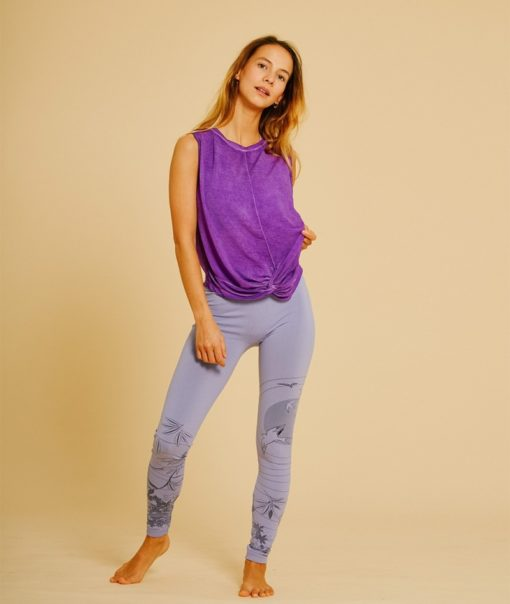 top yoga woman vegetable dyed twist orchid violet purple