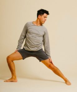 sweat yoga homme coton tapasaya gris marron