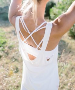tank top yoga woman flowing lolasana white