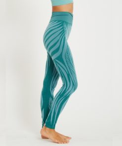 legging jacquard woman yoga wild mint green blue