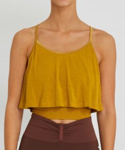 top yoga bambou kerala jaune moutarde