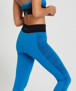 legging yoga bicolore sans couture fibre supplex rudra azur bleu