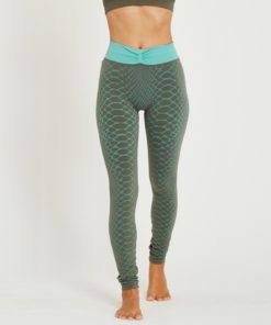 legging jacquard yoga comfort waves kaki green blue